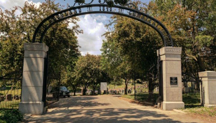 Image of Woodland Cemetery Gate Des Moines, Iowa